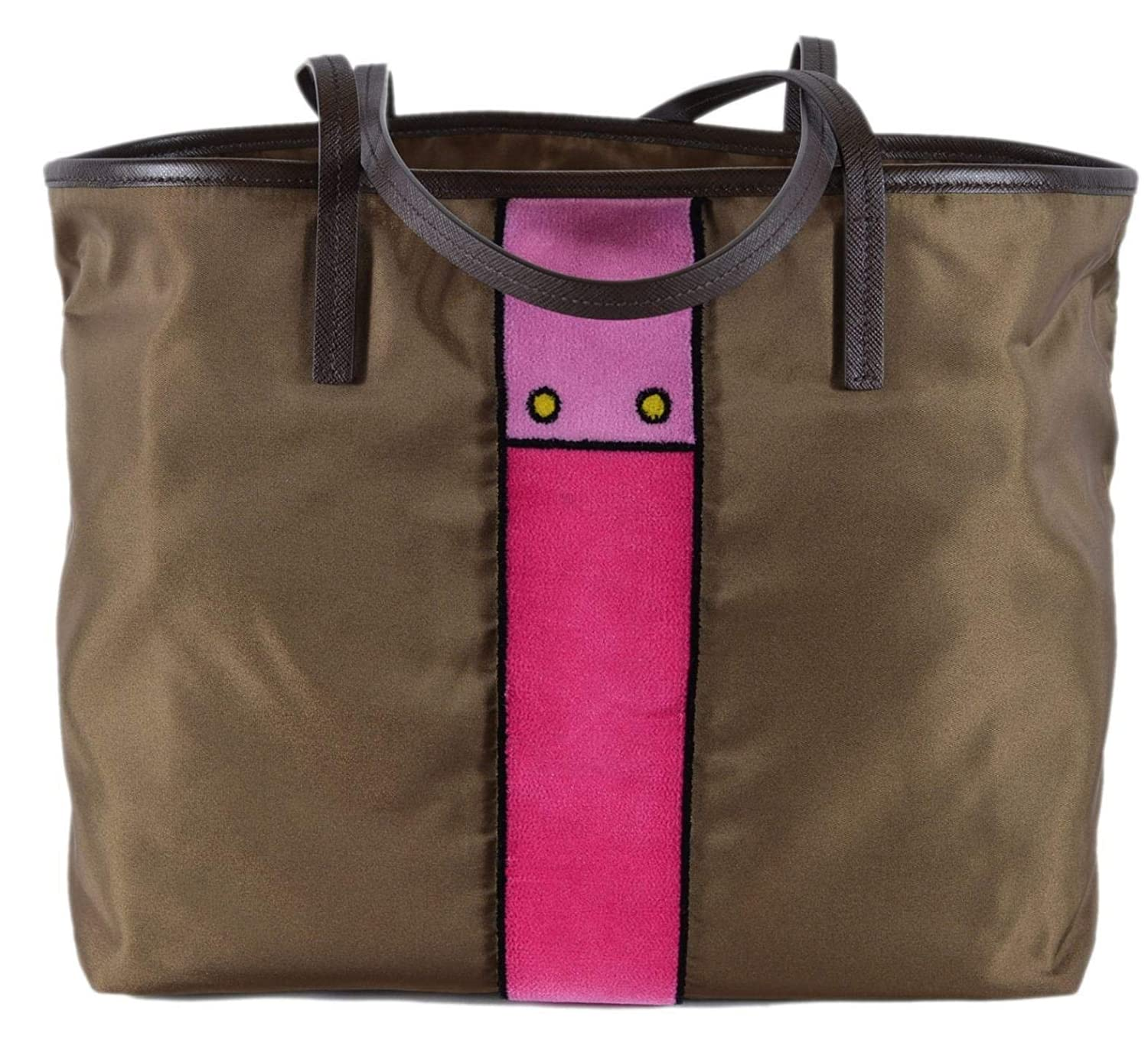 Amazon.com  Prada Womens Brown Tessuto Ricamo Shopping Tote Shoulder Bag  Messenger Bag with Pink Velvet Accent Line Leather Trim 1BG065  Shoes d367ca5a9ac62