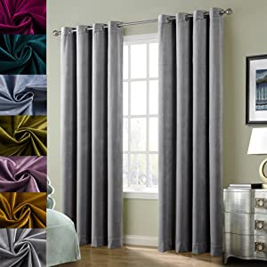 Large Size Smoky Gray Classic Blackout Velvet Curtain Panels Home Theater Grommet Drape Eyelet 100Wx84L-inch Light Grey(1 Panel) with Matching Pillow and Tieback