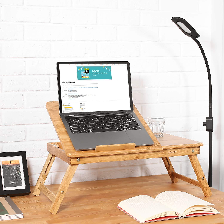 HOMFA Mesa para Ordenador portátil Mesa de cama Bambú Mesa auxiliar con cajón lateral 55x35x(22-30)cm: Amazon.es: Juguetes y juegos