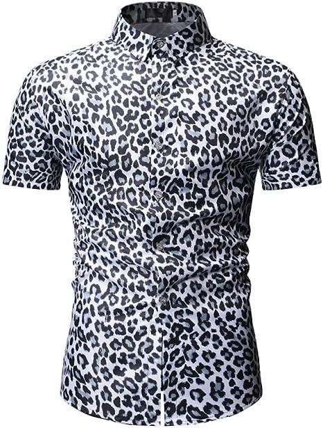 IYFBXl Verano Nuevo Estampado de Leopardo Camisa de Manga Corta de los Hombres Delgados de Gran tamaño, Gris, XXXL: Amazon.es: Deportes y aire libre