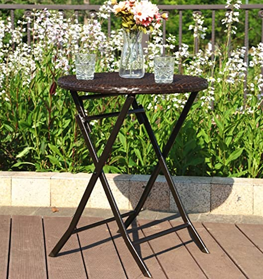 PHI VILLA Patio Rattan Folding Furniture Outdoor Table Perfect for Porch, Backyard, Porch 1 Table