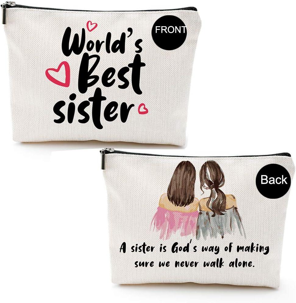 World's Best Sister-Makeup Bag-Sister Gifts from Sister, Brother,Sister Birthday Gift-Rakhi Gift Funny Best Sister Gifts For Soul Sister, Big Sister,Little Sister,BlackGold