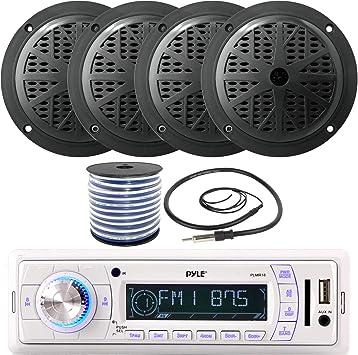 New PLMR18 200Watt Pyle Marine Boat MP3 WMA USB Media Radio 4 X Speakers Amp Pkg