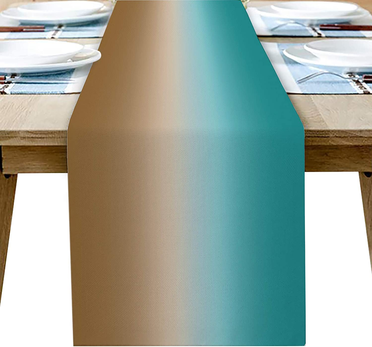 Table Runner 70 Inches Long for Dining Coffee Table, Farmhouse Teal Brown Graident Burlap Rectangle Table Cloth Decor Dress Scarf Birthday Wedding Holiday Party, 13