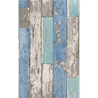 Blue Distressed Wood Wallpaper Stick and Peel Wallpaper 17.71In X 118In Self Adhesive Wood Plank Wallpaper for Furniture…