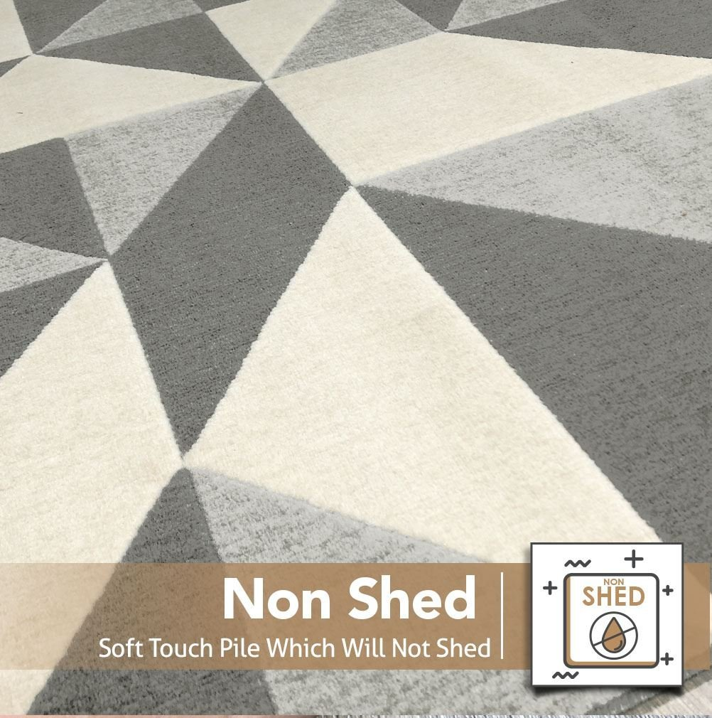 Modern Style Rugs Home Accessories in Geometric Grey Duck Egg Mustard Yellow Cream Diamond Pattern in Soft Touch Large Living Room Rug Grey /& Cream, 120x170cm Navy