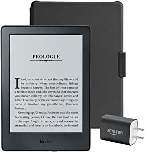 "Kindle Essentials Bundle including Kindle 6"" E-Reader, Black with Special Offers, Amazon Cover for Kindle – Black, and Power Adapter"