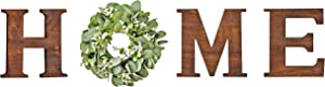 Home Sign Farmhouse Wall Decor Wood Letters Home Modern Decor Letters for Wall Home Letters with Wreath,Wall Art with Artificial Eucalyptus,Wooden Letter Living Room Kitchen Housewarming Gift