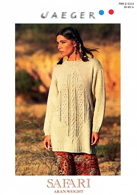 Knitting Pattern Lady Long Sweater Safari Eyelet Cable Motif To Knit