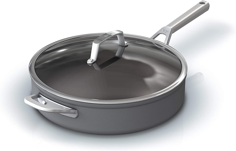 Ninja C30150 Foodi NeverStick Premium Hard-Anodized 5-Quart Sauté Pan with Glass Lid, slate grey