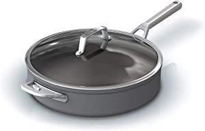 Ninja C30150 Foodi NeverStick Premium Hard-Anodized 5-Quart Sauté Pan with Glass Lid, slate grey