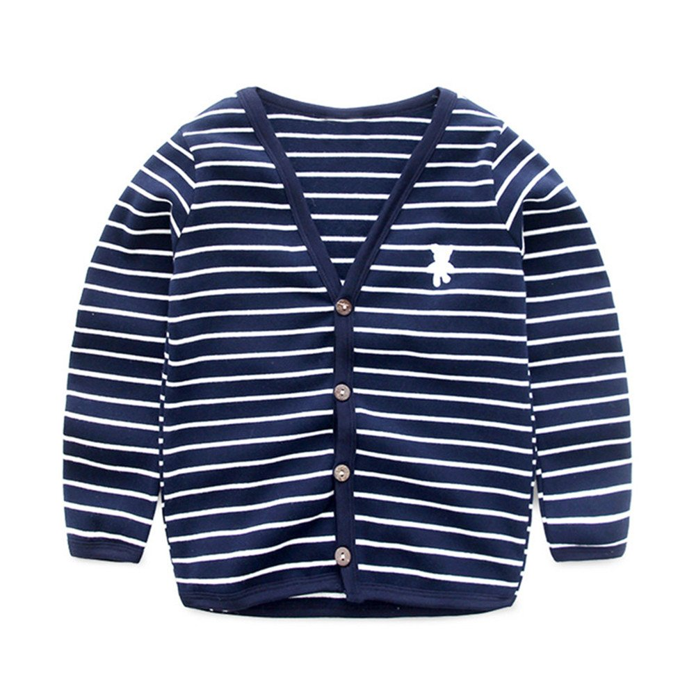 UWESPRING Baby Boys Striped Cardigan Top V-Neck Knit Sweater Coats 5T Navy
