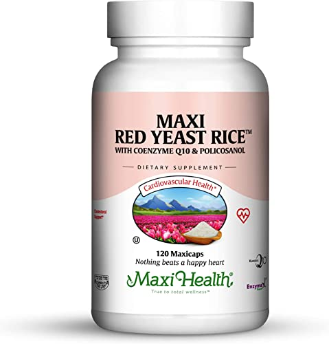 Maxi Health Red Yeast Rice – with Co Q10 Policosanol – Cholesterol Support – 120 Capsules – Kosher
