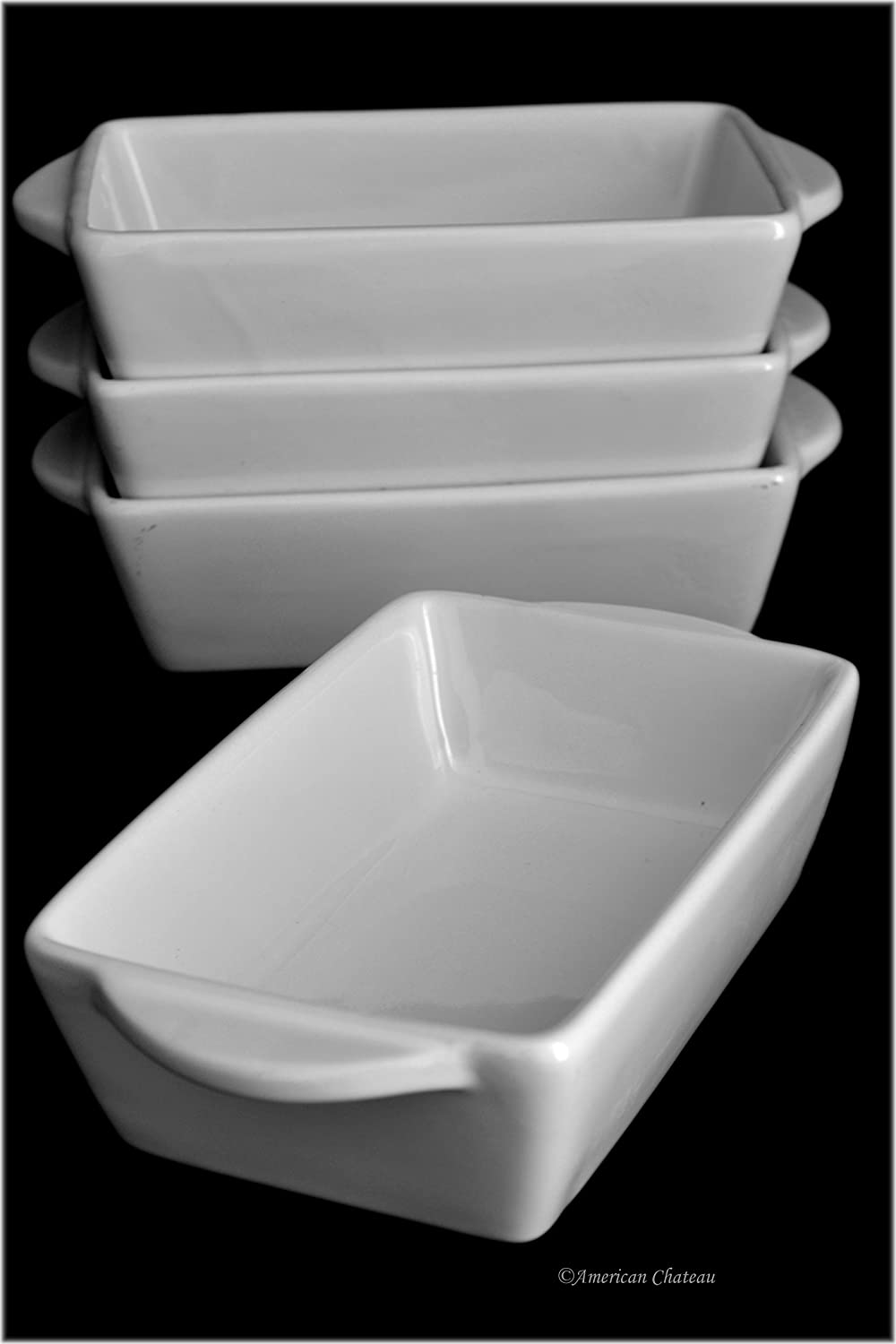 Set 4 Individual Portion Oven-to-Table White Porcelain Casserole Baking Dishes