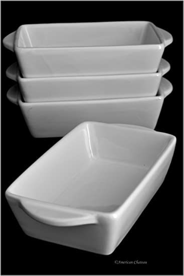 Set 4 Individual Portion Oven To Table White Porcelain Casserole Baking  Dishes