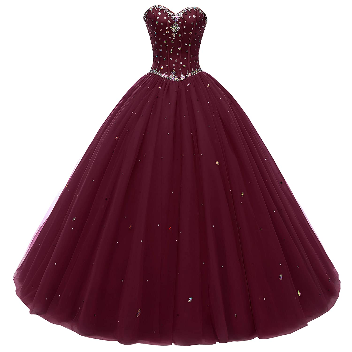 Beautyprom Women's Sweetheart Ball Gown Tulle Quinceanera Dresses Prom Dress