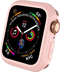 Mastten Case Compatible with Apple Watch Screen Protector 40mm, Flexible TPU Protective Bumper Case with High Responsive Tempered Glass Screen Compatible with iWatch SE Series 6/5/4, Pink Sand