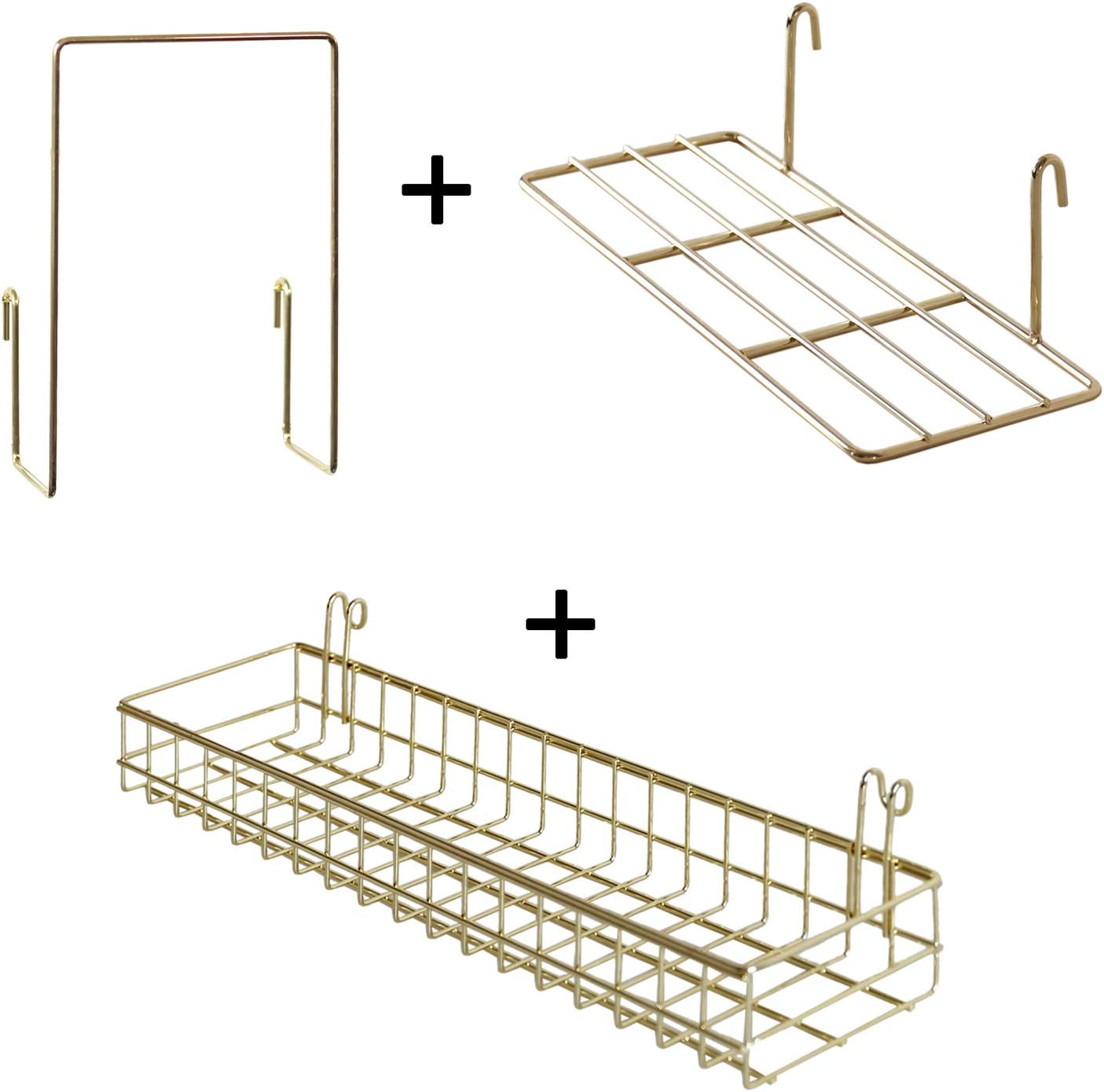 FRIADE Gold Grid Basket With Hooks,Bookshelf,Display Shelf for Wall Grid Panel,Wall Mount Organizer and Storage Shelf Rack for Home Supplies,1 Set of 3 (Gold)