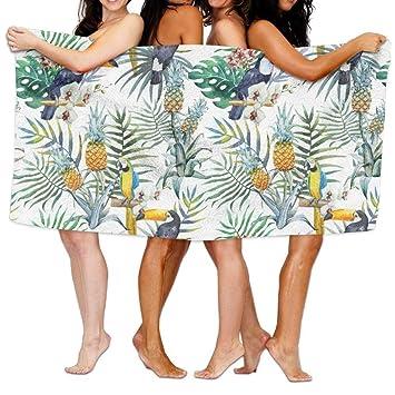 ruishandianqi Toallas de Playa baño Topical Hawaii Tucan Parrot Pineapple Bath Towel Adult Microfiber Towel 31 X 51 Inch Bath Sheet: Amazon.es: Hogar