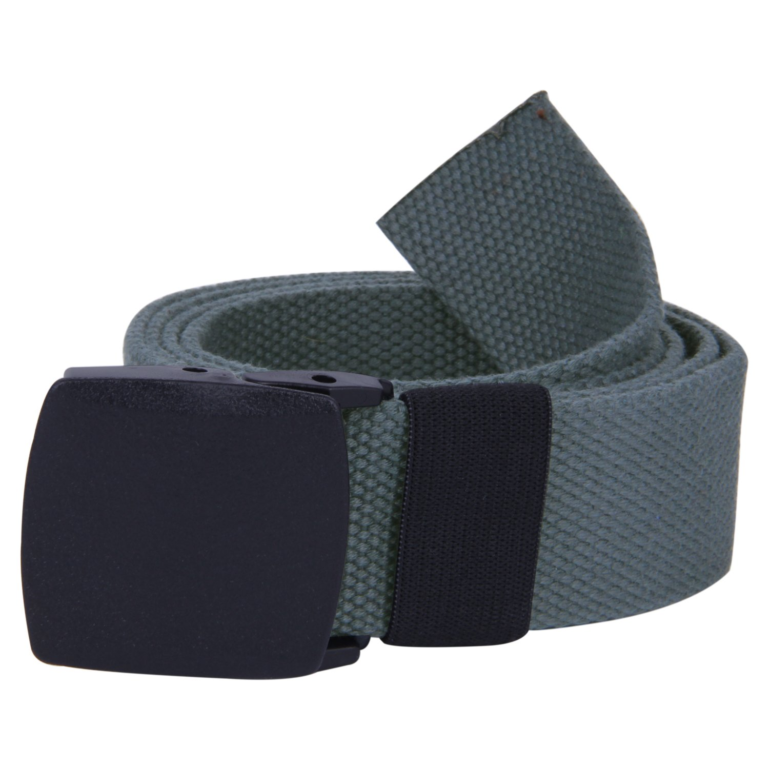 ROFIFY Tactical Belt Military Style Canvas Webbing Riggers Belts with Flip-Top Black Plastic Buckle 50 Long