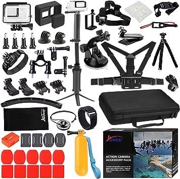 Husiway - Kit de Accesorios para GoPro Hero 7 6 5 (Carcasa de Silicona y Protector de Pantalla, 57 A), Color Negro y Blanco: Amazon.es: Electrónica