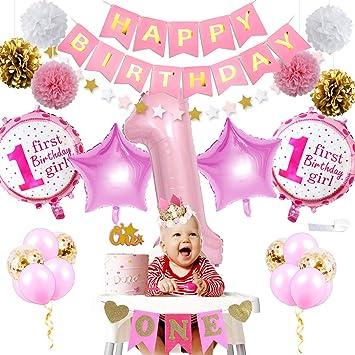 Decoraciones para el primer cumpleaños, rosa y dorado para ...