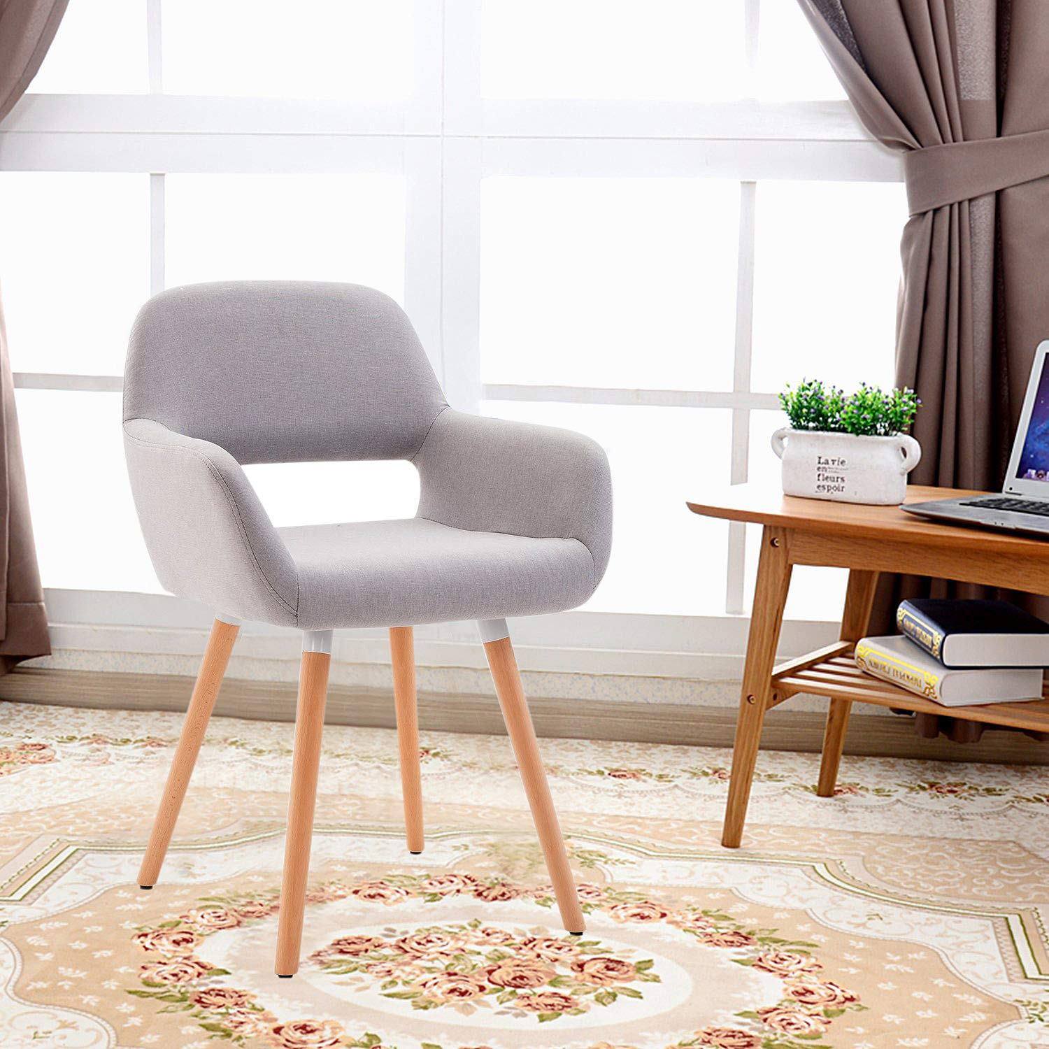 HEYNEMO Living Room Chair, Mid Century Modern Style Chair for Bedroom, Bedroom Chair with Sturdy Bentwood Legs, Grey by HEYNEMO