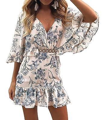 cb5de54c7d9 BTFBM Women Fashion Floral Print V Neck Hollow Out High Waist Ruffle Boho  Flowy Short Dress