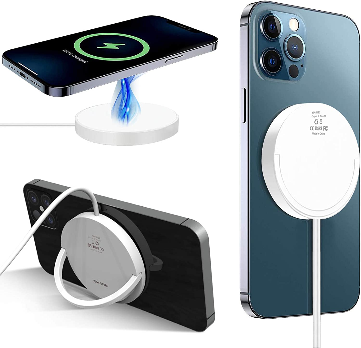 15W Fast Wireless Charger Compatible with iPhone 12 Series Magsafe, 2 in 1 Portable Qi Wireless Charging Pad with Foldable Phone Stand Compatible with iPhone 12 Pro Max All Qi Devices (White)