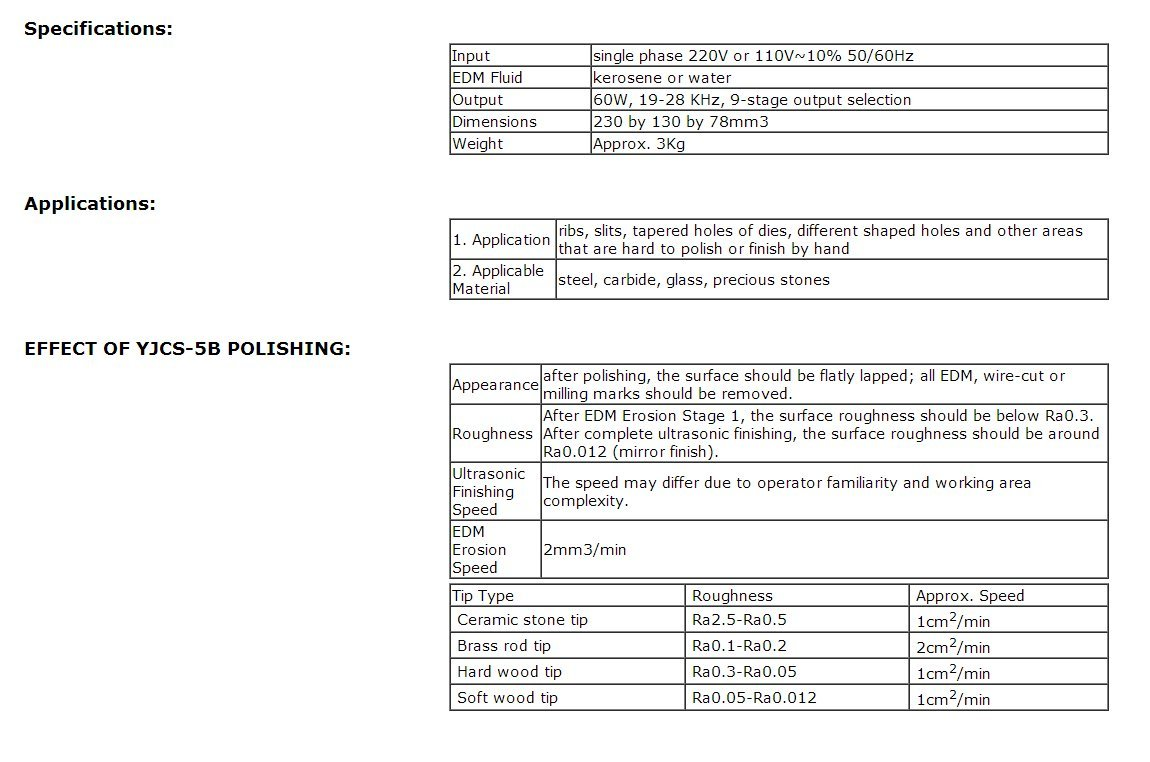 JIAWANSHUN 220V or 110V~10% 50/60Hz 60W Professional Polishing Machine Ultrasonic Mold Polisher New Yjcs-5B 19-28 KHz 9-stage output selection (220V)