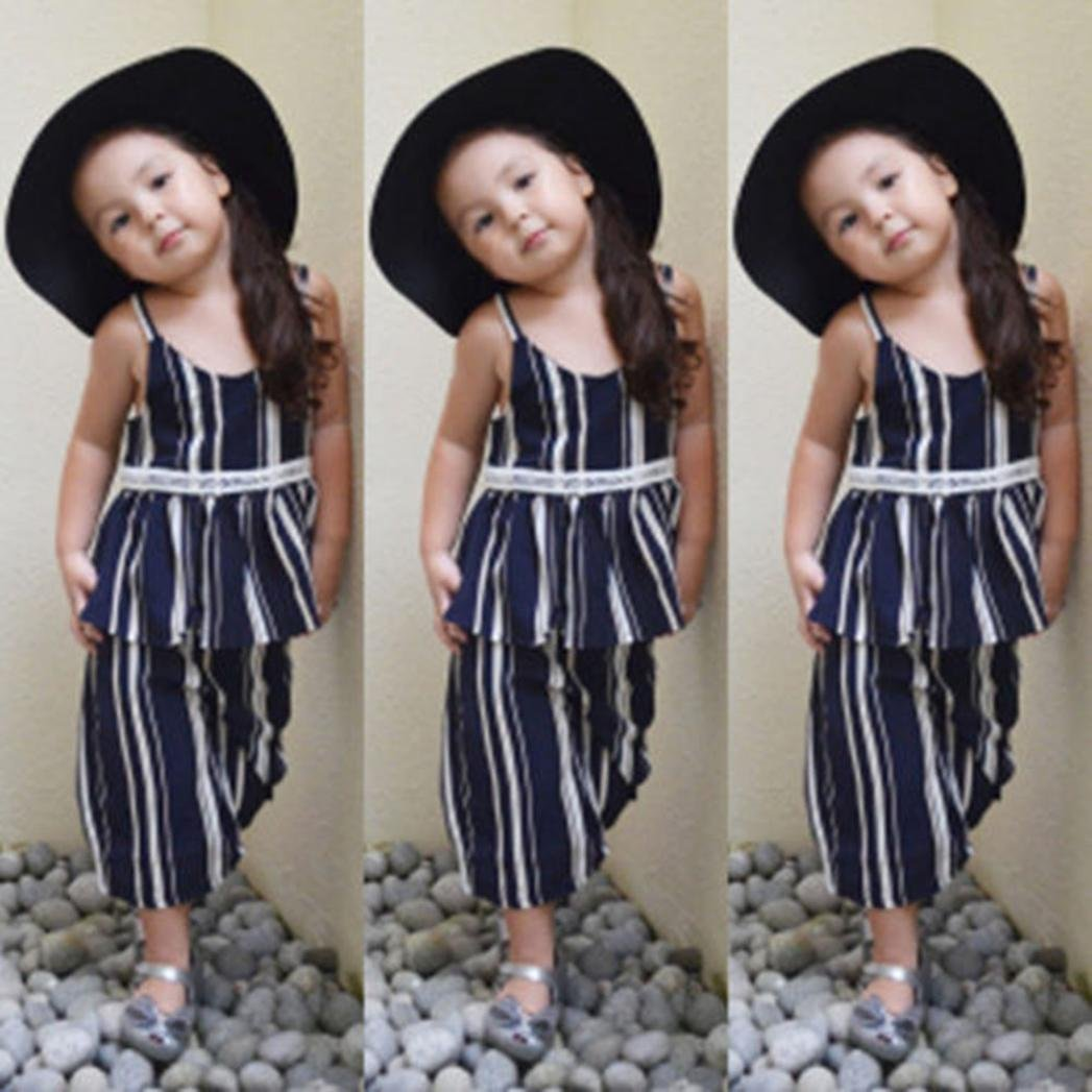 Palarn 2018 oddler Kids Chlid Girls Clothing Set Striped Vest Tops Pants Outfits Clothes