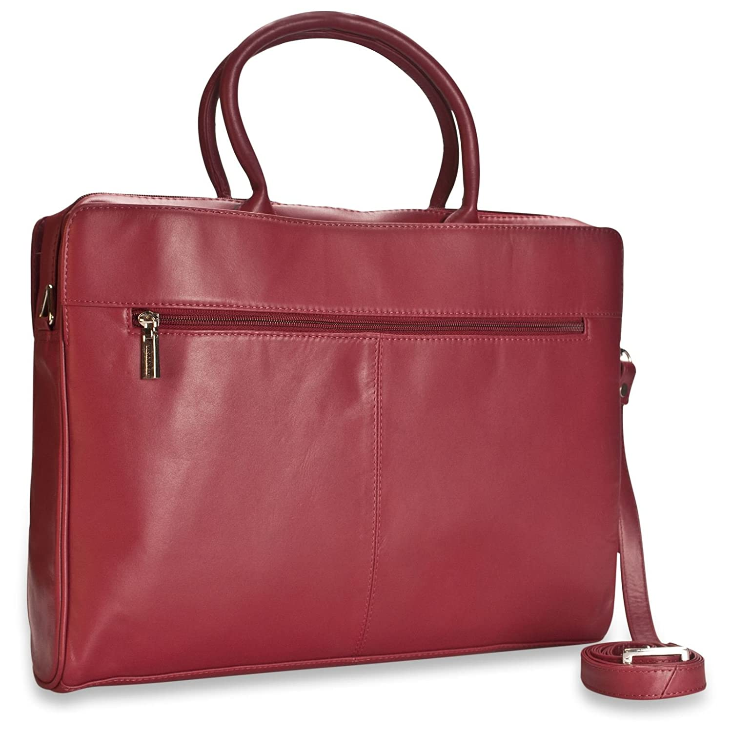 New Ladies Visconti Dark Red Leather Briefcase Laptop Bag RFID Blocking Style 18427