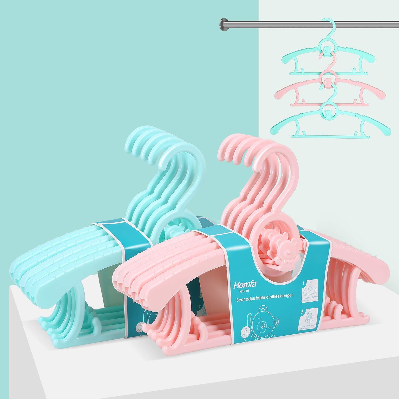 HOMFA Perchas bebe ajustable Perchas para niños de plástico Perchero para ropa infantil antideslizantes muy resistentes 10 Unidades HF