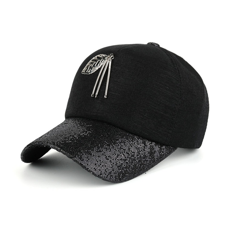 36440309708 Amazon.com  fashion women snapback cap metal leaf bling visor baseball cap  B423 Black  Health   Personal Care