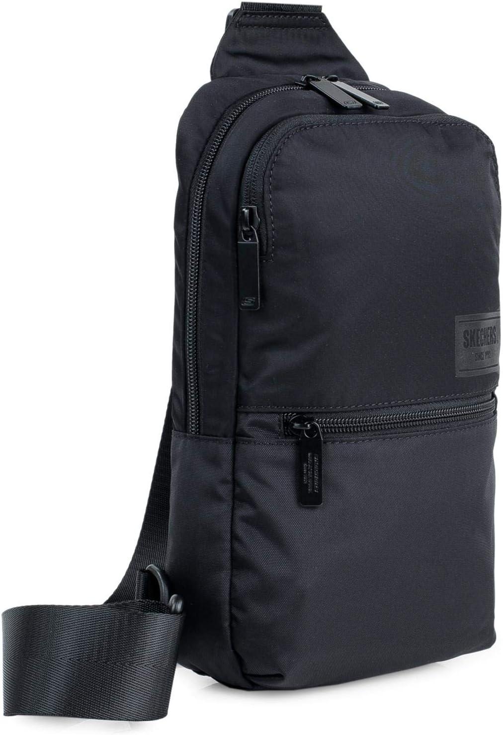 SKECHERS - Mochila Tipo Cross Bag Unisex Adulto con Bolsillo Interior iPad Tablet Ideal para Uso Diario Prática Cómoda VersátiL S973, Color Negro