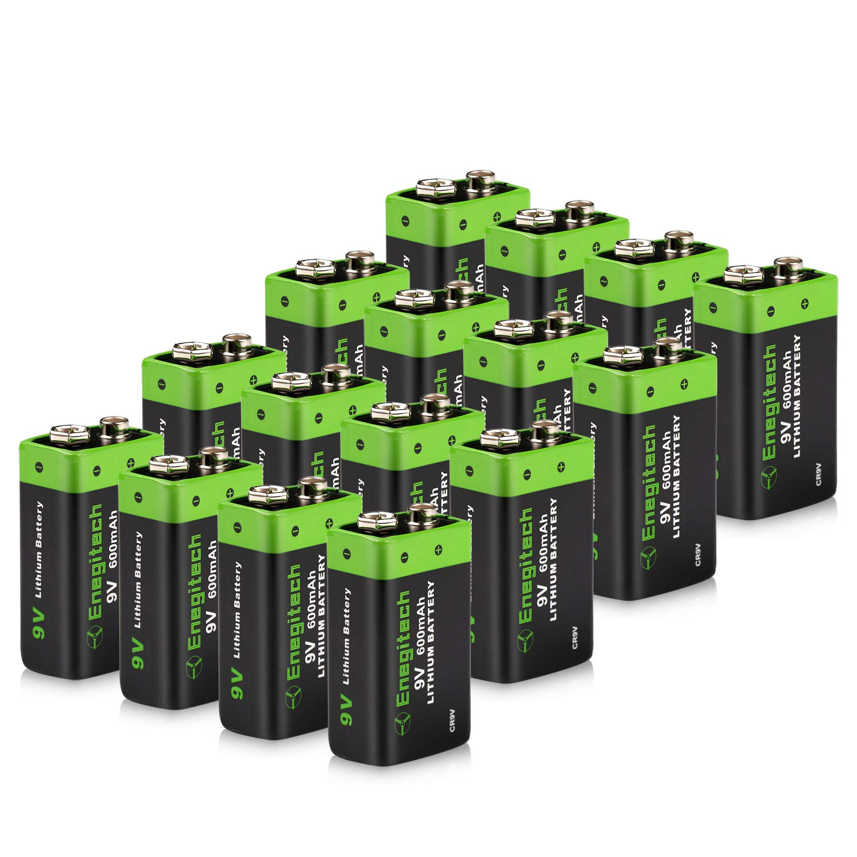 Enegitech 9V Lithium Battery 600mAh Non-Rechargeable Li-ion Battery for Smoke Detector Fire Alarm Multimeter, 16-Pack