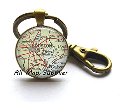 Amazon.com: Charming Keychain,Houston map Keychain, Houston map Key ...