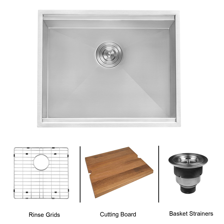 RVH8308 Ruvati 23-inch Workstation Ledge Bar Prep Kitchen Sink Undermount 16 Gauge Stainless Steel Single Bowl