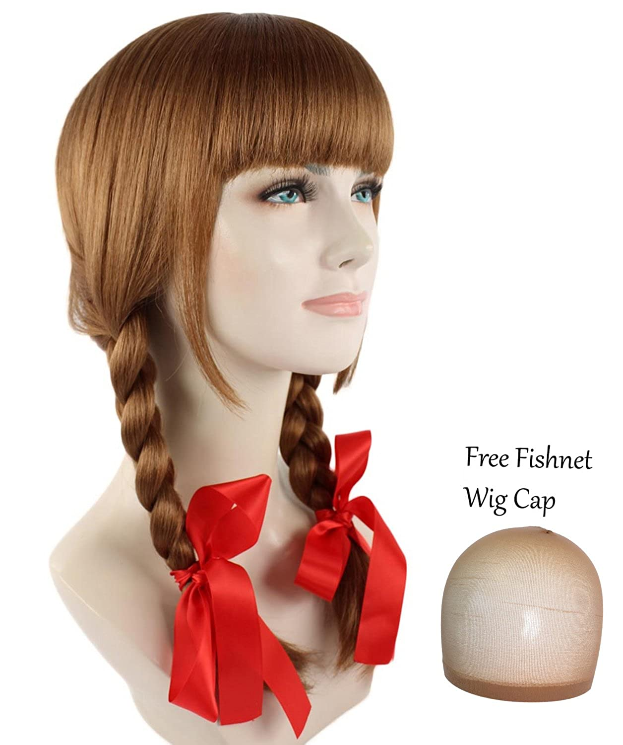 Cece Long Hair Double Braid Wigs with Bangs for Cosplay Costume Party Annabelle
