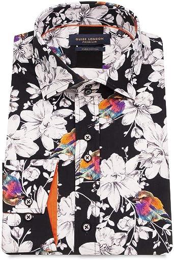 Guide London - Camisa de hombre con diseño de flores blancas ...