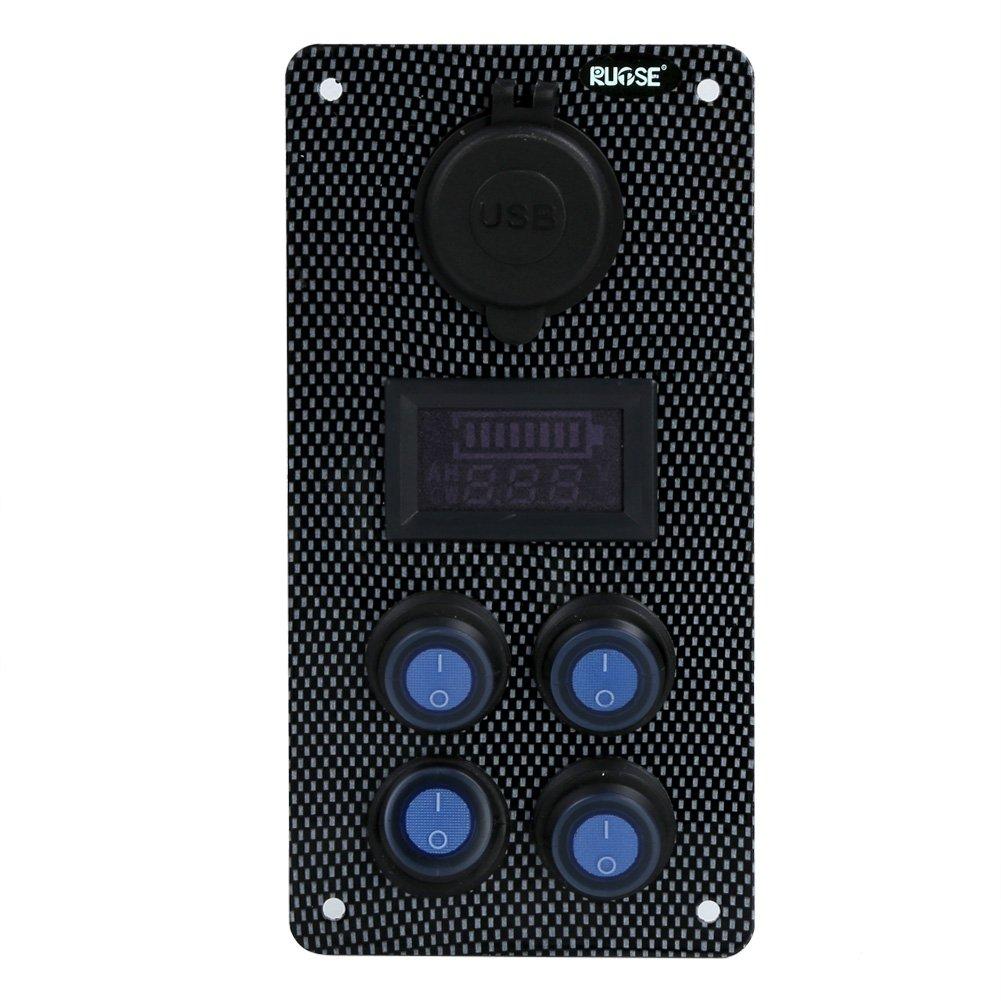 Caricabatterie 12v Voltmetro A LED Rupse Pannello Interruttori a Levetta 5 Gang Panel de interruptor basculante - 37