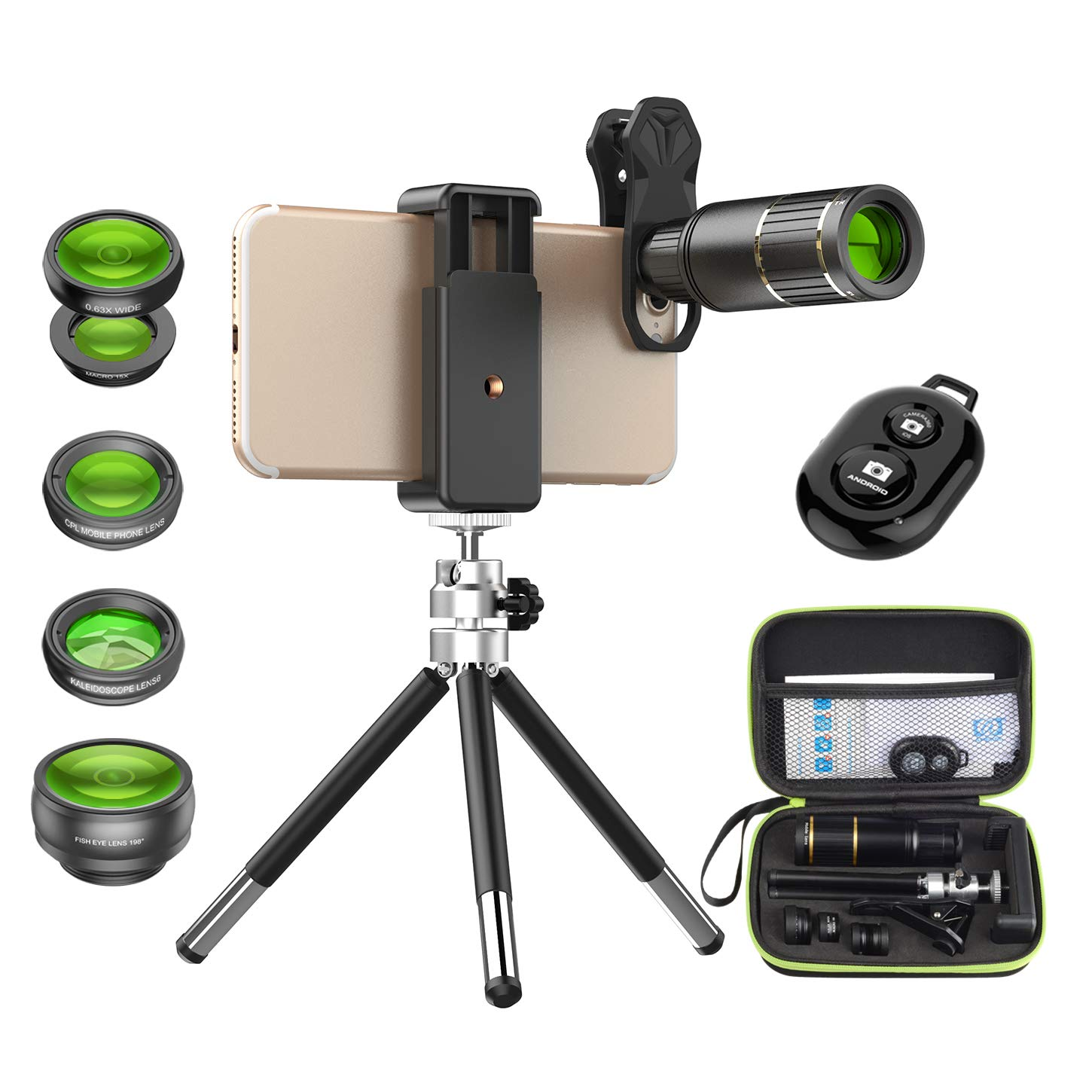 Apexel Cell Phone Camera Lens Kit -Remote Shutter+ Phone Tripod+ 6 in 1 Phone Lens Kit -Metal 16X Telephoto Zoom Lens/0.63x Wide Angle/Macro/198 Fisheye/Kaleidoscope/CPL for iPhone X 8 7 6 Plus Samsung Smartphone 16X104D5