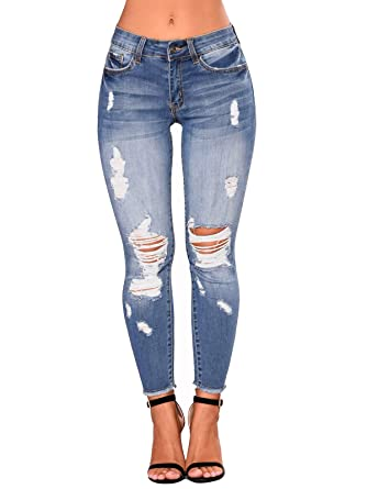 a8abe987bc Govc Women's Juniors Distressed Ripped Slim Fit Stretchy Jeans Skinny Denim  Capris Pants(Lightblue,