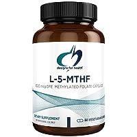 Designs for Health L-5-MTHF 5mg (8500mcg DFE/Dietary Folate Equivalent) - Quatrefolic, Active B9 Methylfolate (60 Capsules)