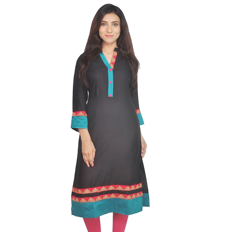 Chichi Indian Women Kurta Kurti 3/4 Sleeve XX-Large Size Pain with Blue-Pink Border Straight Black Top
