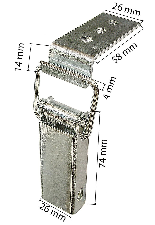 Spannverschluss Kistenverschluss 88 x 40 x 4 mit Gegenhaken Eckbefestigung KeyMet GmbH