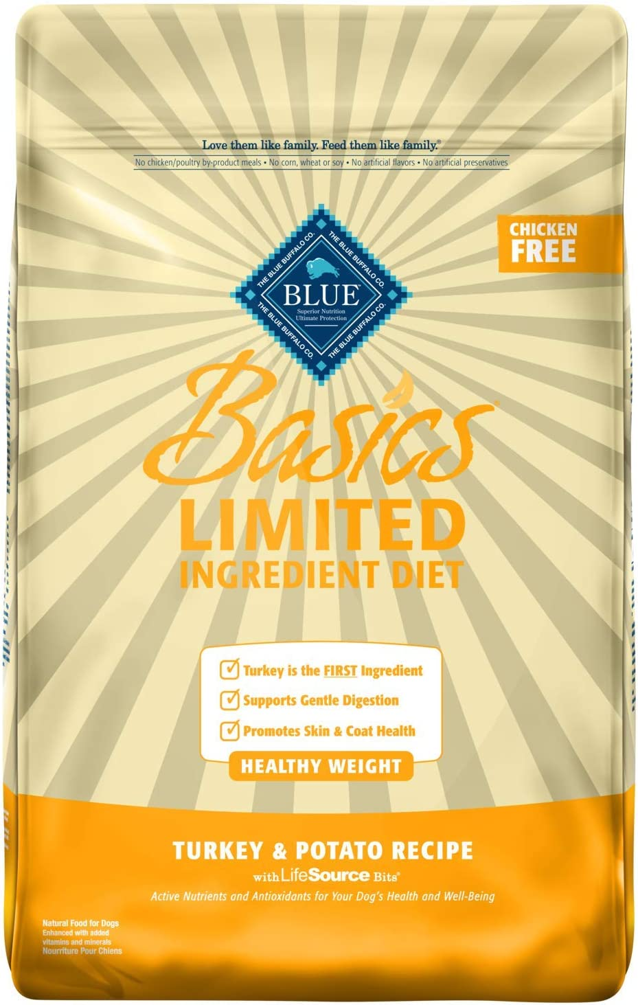 Blue Buffalo Basics Limited Ingredient Diet, Natural Adult Healthy Weight Dry Dog Food, Turkey Potato