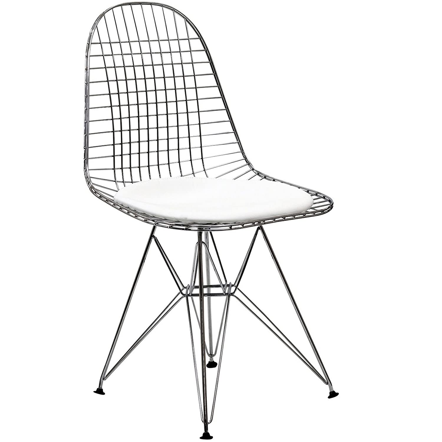 Amazon LexMod Wire Tower Side Chair with White Vinyl Cushion