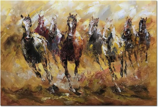 Oil Painted Horses Running Fabric Quilting SewingCraft Panel Wild Horses