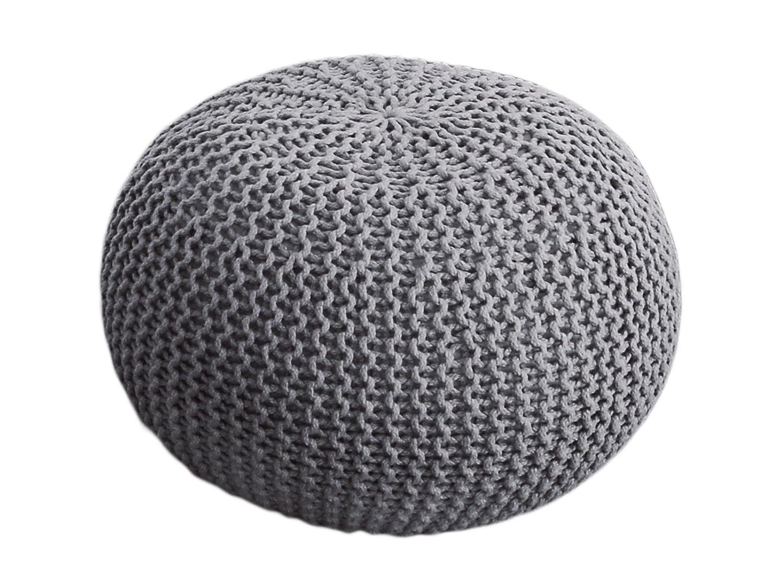 MAB Sitzpuff Sitzhocker Bodenkissen ver. Farben Ø 55 cm Baumwolle handgeknüpft für den Aussenbereich, Outdoorhocker Silber-grau SG